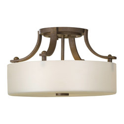 Murray Feiss - Murray Feiss Sunset Drive Semi-Flush Mount Ceiling Fixture in Corthian Bronze - Shown in picture: Sunset Drive Semi-Flushmount in Corinthian Bronze finish with Pearl Glass
