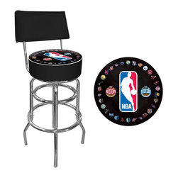 Trademark Global - NBA Logo with All Teams Padded Swivel Bar Sto - Officially Licensed Art. Reverse Printed on Commercial Plastic to Protect Logo from Wear. Luxurious Foam Padding. .25 inch Vinyl Beading Marrying the Top and Side for Added Strength. Marine Grade Vinyl Sides. Chrome Plated Double Rung Base. Seat Dimensions: 14 x 14 x 5 inches. Back Rest Dimensions: 2 x 16.75 x 8.5 inches. Overall Dimensions: 20 x 20 x 41.75 inchesThis officially licensed chrome bar stool with back will provide you and your guests with a comfortable seat as well as a stylish accent to your game room, garage or collection. The stool's seat features an authentic logo highlighted by resilient marine grade vinyl sides trimmed with quarter inch vinyl beading. The seat also includes luxurious foam padding and a 360 degree swivel. The seat back provides added support and extra comfort. Chrome double rung reinforced legs are made of tubular steel that is both lightweight and durable. Bring style, function and comfort to your game room, garage or collection with an officially licensed chrome bar stool with back.