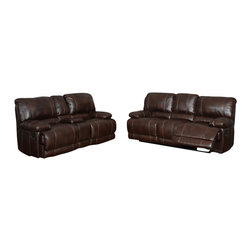 Global Furniture USA - U1953 Brown Bonded Leather Three Piece Sofa Set With Built-in Recliners - The U1953 sofa set has a traditional look with a modern design that works well in any decor. This sofa set comes upholstered in a stunning brown bonded leather in the front where your body touches. Carefully chosen match material is used on the back and sides where contact is minimal. High density foam is used within the cushions for added comfort. The sofa set features built-in powered recliners on each piece for that added touch of relaxation. The sofa set includes a sofa, and chair only.