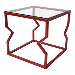 """Palm Metal Designs - Edge Side Table - Edge side table by Palm Metal Designs offers and contemporary edgy look to your room with sharp features and stand out colors to give your room the pop it deserves.  Table is constructed out of strong welded steel with a 3/8"""" thick glass top and finished with a hardened powder coat."""
