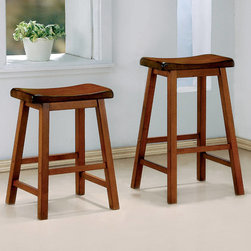 Coaster - 24in. Bar Stool in Oak, Set of 2 - The wooden composition consists of shapely scooped seating, straight wood legs and is completed in a charming medium honey oak finish.