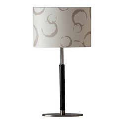Ziqi Home - Isabella Table Lamp, Taupe - Iron metal wrapped in black faux leather. Linen shade designed with bubble graphics. Now that's beauty.