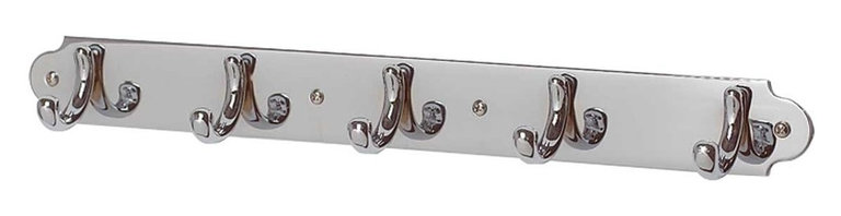 Renovators Supply - Hooks Chrome 5 Hook Coat Rack 15 1/2 W x 2 Proj'' | 18501 - Chrome Coat Rack. Chrome over brass hooks on a matching plate. The piece is 15 1/2W x 1 3/4H and 2 proj. inches.