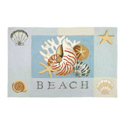 Homefires - Key West Nautilus Rug - Craving a day at the beach? No need to use a vacation day in order to enjoy a quick getaway when you have the beach below your feet inside your own home. This machine washable area rug has features the wonderful aspects of the beach inside your living space without worrying about sunburn.