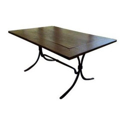 Rustic Pine Table with Steel Base - A rectangular rustic pine table with steel base. This piece will look great with any rustic, farmhouse, or country style decor. The table has a crack in the top, but this adds to the character and charm of the piece. Surround this handsome table with some dining chairs and gather 'round for a feast!