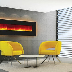 """Amantii Wall Mount / Built In Electric Fireplace 72"""" Black Glass Surround - This Amantii Wall Mount / Built In Electric Fireplace 72"""" Black Glass Surround transforms any ordinary room into something special. The unit includes a 1350-watt heater with multiple-setting thermostat. This electric fireplace comes with an on/off remote control so you can enjoy the warmth and ambiance of a fire with the touch of a button."""