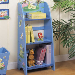 FROGGY BOOK SHELF - Lots of learning, and loads of lily pads, Teamson's Froggy Bookcase offers the best home possible for books and much more! Three shelves provide a quantity of space for just about anything you'd like to put on display. Hand painted a rich blue, with fun and playful frog design throughout, this is a definite keepsake. Some assembly required, perfect for ages 3 and up.