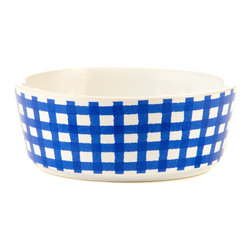 waggo - Gingham Dog Bowl, Navy - Our stylish gingham dog bowls are sure to be you and your pups new favorite! Choose from three great colors- Navy, Mint or Cherry.