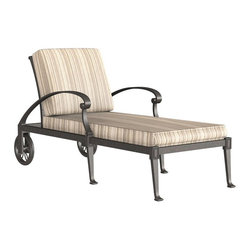 Woodard - Woodard Wiltshire Adjustable Chaise Lounge Multicolor - 4Q0470 - Shop for Chaise Lounges from Hayneedle.com! Read a good book or just enjoy being out in the sun relaxing with the Woodard Wiltshire Adjustable Chaise Lounge. Easily move this chaise lounge to the perfect spot with the wheels while the back adjusts so you can sit up and read or talk or lay the back down and relax. Crafted using the strongest and purest aluminum available this cast aluminum chaise lounge is designed to surpass industry standards to provide you with a stool that will last for years. This chaise lounge has also been made using the age-old art of hand-forming combined with high-tech manufacturing using expert craftsmanship. Pick from your choice of beautiful finishes to create a piece that beautifully complements your decor and then decide which accent cushions will best match your unique style and taste. Whether you love bold vibrant colors or soft muted tones you'll be able to find the perfect cushions to accent your decor. Add accent pillows (not included) to truly make this your own chaise lounge. Whether you're relaxing poolside or surrounded by the colorful beauty of your backyard you'll love having a place to take a break and just enjoy yourself.Important NoticeThis item is custom-made to order which means production begins immediately upon receipt of each order. Because of this cancellations must be made via telephone to 1-800-351-5699 within 24 hours of order placement. Emails are not currently acceptable forms of cancellation. Thank you for your consideration in this matter.Woodard: Hand-crafted to Withstand the Test of TimeFor over 140 years Woodard craftsmen have designed and manufactured products loyal to the timeless art of quality furniture construction. Using the age-old art of hand-forming and the latest in high-tech manufacturing Woodard remains committed to creating products that will provide years of enjoyment.Superior Materials for Lasting DurabilityIn the Aluminum Collections Woodard's trademark for excellence begins with a core of seamless virgin aluminum: the heaviest purest and strongest available. The wall thickness of Woodard frames surpasses the industry's most rigid standards. Cast aluminum furniture is constructed using only the highest grade aluminum ingots which are the purest and most resilient aluminum alloys available. These alloys strengthen the furniture and simultaneously render it malleable. The end result is a fusion of durability and beauty that places Woodard Aluminum furniture in a league of its own.Fabric Finish and Strap Features All fabric finish and straps are manufactured and applied with the legendary Woodard standard of excellence. Each collection offers a variety of frame finishes that seal in quality while providing color choices to suit any taste. Current finishing processes are monitored for thickness adhesion color match gloss rust-resistance and and proper curing. Fabrics go through extensive testing for durability and application as well as proper pattern weave and wear.Together these elements set Woodard furniture apart from all others. When you purchase Woodard you purchase a history of quality and excellence and furniture that will last well into the future.