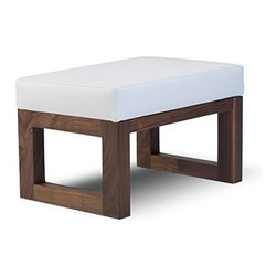 "Monte Design - Joya Ottoman | Monte Design - Handmade in Toronto, Canada by Monte Design.Contemporary design and exceptional comfort come together in the Joya Ottoman. Designed to complement the Joya Rocker, this ottoman offers a small footprint, clean lines and open squared wood legs. The water-repellant and stain-resistant suede microfiber make cleaning up spills and accidents simple and fast. Add ultimate indulgence to the modern nursery with the Joya Ottoman. The Joya Ottoman is now available in a polyester fabric with the look and feel of linen. This Linen Texture fabric is stain resistant, Oeko-Tex certified, and avaible in two nuetral colors. Product Features:  Walnut or White legs 6"" dense foam wrapped with polyester batting Foam is locally manufactured from natural seed-based oils, halogen free, low VOC, and is free of mercury, lead and other heavy metals Foam is free from CFCs, PBDEs and TDCPPs Durable, stain-resistant microsuede fabric or bonded leather Quality hardwood and engineered plywood frames with screwed and glued joints for extra strength and durability All woods meet the LEED Rating System for wood adhesives and certified by the Forest Stewardship Council (FSC) Fabrics and threads are manufactured according to Oeko-Tex® Standard 100 Handmade to order in Toronto, Canada"