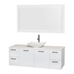 "Wyndham Collection - Wyndham Amare 60"" Sink White, White Stone, White Carrera Marble - Wyndham Collection"