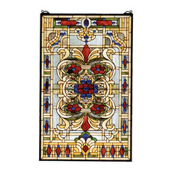 """Meyda - 22""""W X 35""""H Estate Floral Stained Glass Window - Sapphire jewels accent this regal window featuring anintricate pattern of merlot flowers with willow green,honey gold and ivory on a crystalline background.handcrafted utilizing the copperfoil constructionprocess and stained art glass encased in a solid brassframe, the tiffany style window also comes with a solidbrass hanging chain and brackets."""