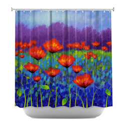 DiaNoche Designs - Shower Curtain Artistic - Poppy Meadow - DiaNoche Designs works with artists from around the world to bring unique, artistic products to decorate all aspects of your home.  Our designer Shower Curtains will be the talk of every guest to visit your bathroom!  Our Shower Curtains have Sewn reinforced holes for curtain rings, Shower Curtain Rings Not Included.  Dye Sublimation printing adheres the ink to the material for long life and durability. Machine Wash upon arrival for maximum softness. Made in USA.  Shower Curtain Rings Not Included.