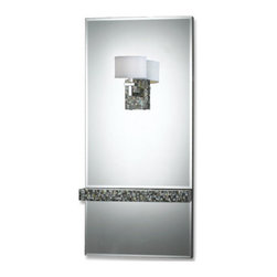 "AF Lighting - AF Lighting 7209-1W Candice Olson Mirror and Abalone Wall Sconce 48""H x 22""W - AF Lighting Candice Olson ""Sahara"" Wall Sconce with White Silk Shade, Finished in Mirror and Abalone"