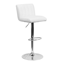 Flash Furniture - Flash Furniture Contemporary White Vinyl Adjustable Height Bar Stool - This designer chair will make an attractive statement in the home. The height adjustable swivel seat adjusts from counter to bar height with the handle located below the seat. The chrome footrest supports your feet while also providing a contemporary chic design.