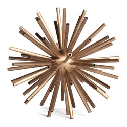 Kathy Kuo Home - Hollywood Regency Brass Designer Starburst Sculpture - M - Whether placed within a luxe-finished Hollywood Regency space or in a sparse Midcentury style home, the simplicity and style of the Sputnik sculpture creates a an easy, modern sophistication.  Alone or in a group, there's a reason why this classic motif has remained popular for decades.