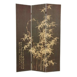 Oriental Furniture - 6 ft. Tall Black Frameless Bamboo Design Screen - This stunning room divider depicts a classic natural bamboo design. It is crafted of bamboo matchsticks in a sleek, frameless design.