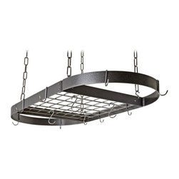 Rogar - Oval Grid Pot Rack in Hammered Steel w Chrome - Great for larger kitchens. Includes 8 regular and 4 grid hooks. Hammered Steel w Chrome accessories. 40 in. L x 20 in.  W x 2 in. H (18 lbs.)