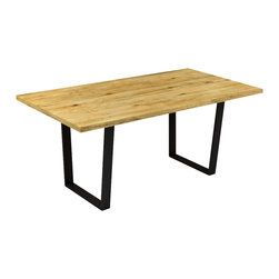 "Kingston Krafts - ""The Trenton"" Pine Wood Top Dining Table with Steel Trapezoid Base, Pine Wood - ""The Trenton"" -Pine Top Steel Base Dining Table"
