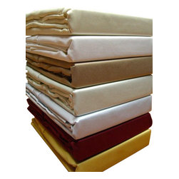 "Bed Linens - 600TC Solid Sheet Set, 100% Egyptian cotton California King Gold - 600 thread count single ply *100% Egyptian cotton, Sateen Weave. *Fitted sheet has a 16"" pocket to fit up to 18"" mattress *Machine wash *Colors: White Ivory Taupe Sage Blue Gold Burgundy *"
