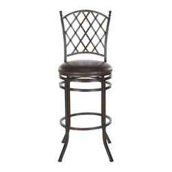 Safavieh - Bagnolet Barstool - Inspired by a French garden trellis, the Bagnolet swivel barstool is designed to complement traditional and country style kitchens. Crafted of iron with dark brown finish, this comfy barstool comes with a plush seat cushion of brown PU leather.