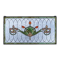 Meyda Tiffany - Meyda Tiffany Tiffany Windows Window Sill Tiffany Window Art in Copperfoil - Shown in picture: Tulip and Fleurs Stained Glass Window; Spring Green Leaves And Borders - Lively Coral Tulips And Plum Beige Fleur-De-Lis - Accent The Rippling Textured Clear Glass Of This Elegant Victorian Inspired Stained Glass Window. The Window Is Handcrafted Utilizing The Copperfoil Construction Process And 192 Pieces Of Stained Art Glass Encased In A Solid Brass Frame. This Lovely Window Is A Creation To Be Forever Treasured. Mounting Bracket And Chain Included.