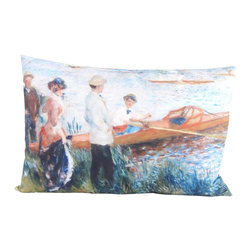 Poetic Pillow - Auguste Renoir Oarsmen at Chatou Pillow - Transform any space with a pillow from Poetic Pillow. Each pillow is inspired by fine works of art and printed on the front and back.   Covers are made of pre-shrunk satin-like polyester fabric. All seams are finished to prevent fraying and pillow covers have a knife edge finish.. A concealed zipper allows for ease of inputting pillow inserts.  A duck feather insert is included for soft yet supportive feel.  Cushion inserts are encased in a cotton cover and filled with 100% duck feather.  All research, design and packaging is completed in Oakland, California.