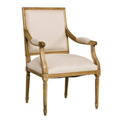 Louis Arm Chair - Square-back chair with side arms in natural linen and framed in an intricately carved natural oak finish. Imported.