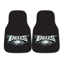 Fanmats - Fanmats Philadelphia Eagles 2-piece Carpeted Car Mats - Display your favorite team's logo in your car with these Philadelphia Eagles carpeted car mats. The design is bold and immediately catches the eye, and the set includes two, so your front carpets will be protected from dirt on a passenger's shoes.