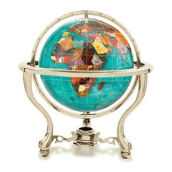 Kalifano Bahama Blue 9-in. Commander Gemstone Tabletop Globe - Light Gold - Give your desk or bookshelf the global treatment with the Kalifano Bahama Blue 9-in. Commander Gemstone Tabletop Globe – Light Gold. Made with individual pieces of hand inlaid semi-precious gemstones, this piece is unique and skillfully crafted in full detail. Its striking blue seas surround multi-colored landmasses. Gold meridian lines accent its geographical labels. A polished light gold metal stand lets the globe tilt and spin while a lower compass points to true North.About Alexander KalifanoOver the span of four generations since 1912, family-owned Alexander Kalifano, a vertically-owned business, has been delighting customers with home decor products and jewelry collections. Headquartered in Las Vegas, the company offers unique, high-quality products at the best possible value.