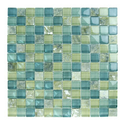 "Glass Tile Oasis - Olive Glass Stone Blend 1"" x 1"" Green Crystile Blends Glossy Glass and Stone - Sheet size:  12"" x 12""        Tile Size:  1"" x 1""        Tiles per sheet:  144        Tile thickness:  1/4""        Grout Joints:  1/8""        Sheet Mount:  Mesh Backed        Sold by the sheet        -  We offer six lines of in-stock designs ready for immediate delivery including: The Aquatic Line  The Shadow Line  The Hang 10 Line  The Medallion Line  The Garden Line and The Peanuts® Line.All of the mosaics are frost proof  maintenance free and guaranteed for life.Our Aquatic Line includes: mosaic dolphins  mosaic turtles  mosaic tropical and sport fish  mosaic crabs and lobsters  mosaic mermaids  and other mosaic sea creatures such as starfish  octopus  sandollars  sailfish  marlin and sharks. For added three dimensional realism  the Shadow Line must be seen to be believed. Our Garden Line features mosaic geckos  mosaic hibiscus  mosaic palm tree  mosaic sun  mosaic parrot and many more. Put Snoopy and the gang in your pool or bathroom with the Peanuts® Line. Hang Ten line is a beach and surfing themed line featuring mosaic flip flops  mosaic bikini  mosaic board shorts  mosaic footprints and much more. Select the centerpiece of your new pool from the Medallion Line featuring classic design elements such as greek key and wave elements in elegant medallion mosaic designs."