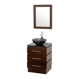 Wyndham Collection - Rioni Espresso with Smoke Glass Top with Smoke Glass Sink - The Wyndham Collection presents another exclusive design, the Rioni pedestal bathroom vanity. Three drawers provide ample storage and the contemporary styling is elegant in any modern bathroom setting.