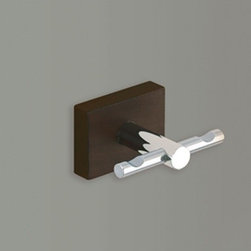 Gedy - Chrome Double Hook With Wood Base - Wall mounted polished chrome double hook with wooden base. For clothes, robes, or towels. Wall mounted double hook. Made of stainless steel with wood base. From Gedy Minnesota Wood Collection.
