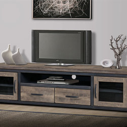 None - Heritage Rustic Entertainment Center - This Heritage Entertainment Center is rustic in feel and sturdy in construction with a vintage-looking finish. This wooden entertainment center features two glass doors and two drawers for plenty of space to store your things.