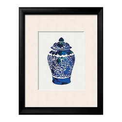 Chinoiserie Chic - Blue Wall Art Asian Vase. Chinoiserie Wall Art of a Traditional Chinese Vase digitally colored with my original watercolor and ink painting in shades of blue: from sea blue to dark navy blue.