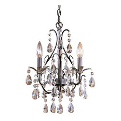 """Frontgate - Castlewood 3-light Mini Chandelier - 3-arm chandelier provides ideal ambient lighting. Walnut finish with silver highlights. Accented with faceted glass crystals. 72"""" chain and cord can be adjusted to fit any ceiling height. Requires three 60W candelabra base lamps (not included). Designed to grace even the smallest space, the diminutive Castlewood chandelier adds a flash of brilliance to a sitting area, bathroom, or master bedroom. Faceted glass crystals, and a hint of silver, add shine to the walnut-finished frame. . .  . . Hardwire; professional installation recommended. Clean with a soft cloth."""