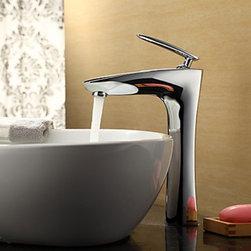 Bathroom Faucets - Contemporary Chrome Finish Bathroom Sink Faucet (Tall)-- FaucetSuperDeal.com