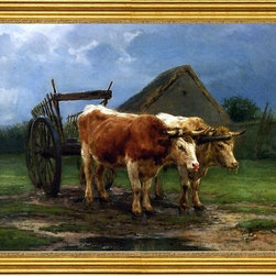 """Rosa Bonheur-16""""x24"""" Framed Canvas - 16"""" x 24"""" Rosa Bonheur Oxen Pulling a Cart framed premium canvas print reproduced to meet museum quality standards. Our museum quality canvas prints are produced using high-precision print technology for a more accurate reproduction printed on high quality canvas with fade-resistant, archival inks. Our progressive business model allows us to offer works of art to you at the best wholesale pricing, significantly less than art gallery prices, affordable to all. This artwork is hand stretched onto wooden stretcher bars, then mounted into our 3"""" wide gold finish frame with black panel by one of our expert framers. Our framed canvas print comes with hardware, ready to hang on your wall.  We present a comprehensive collection of exceptional canvas art reproductions by Rosa Bonheur."""