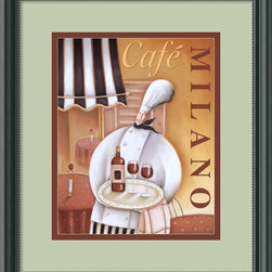 """Amanti Art - Cafe Milano Framed Print by Jo Parry - In the mood for a bottle of red tonight perhaps? Only the most discerning of palates will appreciate this vinous dream served in an outdoor Italian café by an impeccable chef. Custom framed with a delicate patina accent, this image will remind you to enjoy every moment of life. And remember to have a glass of wine with that joy, the Italians were on to something when they said, """"man cannot live by bread alone."""""""