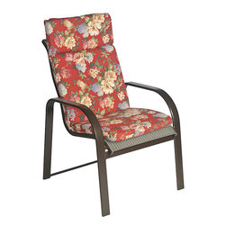 None - Ali Patio Polyester Crimson Red Floral Smooth Edge Hi-back Outdoor Arm Chair Cus - Add a touch of garden fun to your exterior living space with this outdoor floral chair cushion. This soft,stylish chair pad will add comfort to your chair along with a burst of brilliant color to add a new look on the patio,deck,or porch.