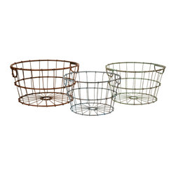 iMax - Kristley Metal Baskets, Set of 3 - A set of 3 iron baskets that will add style to your storage needs.