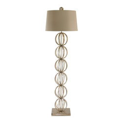 "Arteriors Home - Contemporary Arteriors Home Silver Open Globe Floor Lamp - From Arteriors Home this floor lamp has a timeless appeal. Features a column of open globes on a square base with a hardback shade on top. Also has a 3-way switch for better lighting control. Takes one 150 watt 3-way bulb (not included). 64 1/2"" high. Shade is 16"" across the top 18"" across the bottom and 11"" high.  Silver finish.  Takes one 150 watt 3-way bulb (not included).   64 1/2"" high.   Shade is 16"" across the top 18"" across the bottom and 11"" high."