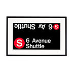 Ward Maps - Authentic 'S' Train Subway Sign - This certified authentic 6 Avenue Shuttle NYC Subway Sign roll sign for the 'S' Train traveling up and down 6th Avenue is an original component from a decommissioned R32 Brightliner subway car. 6th Avenue is a busy thoroughfare in Manhattan known as 'The Avenue of the Americas'... although no real New Yorker would ever call it that!    Elegantly displayed in an attractive black frame, you can outfit your living room with this mint-condition New York City 6 Avenue 'S' Train Shuttle subway roll sign and wonder what famous New Yorkers (or maybe even you) have relied on this exact sign to signify their next stop.