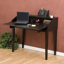 Upton Home - Ebony Laptop Storage Desk - Offering a slim, contemporary profile, this ebony folding laptop desk keeps laptops and accessories neatly stowed when not in use. The folding top opens to reveal a large work area while the oversized drawer provides plentiful storage.