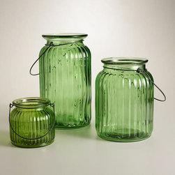 Green Ribbed Glass Lantern Candleholder -