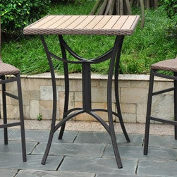 International Caravan - 3-Pc Bistro Set in Antique Brown Finish - Includes two wicker resin patio chairs and one wicker patio table. Elegant and beautiful. Designed with rust free aluminum frame against rain and harsh weather. All weather resistant and UV light fading protective coating. Assembly required. Chair: 20 in. W x 20 in. D x 45 in. H (10 lbs.). Table: 32 in. W x 32 in. D x 42 in. H (33 lbs.)