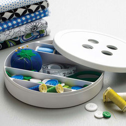 White Button Box - Store your handiwork bits and baubles in a storage box that's cute as a button. With individual compartments for buttons, bobbins, and other necessities, organization is a snap.