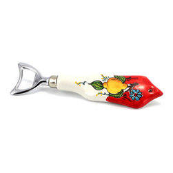 Artistica - Hand Made in Italy - Limone-Fiore: Bottle Opener (18/10 S/Steel and Ceramic Handle) Lemon/Red - Our all new and exclusive Limone Fiore collection was inspired by the renowned Amalfi Coast lemons
