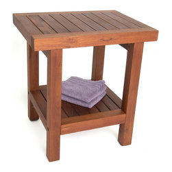 "Aqua Teak - 18"" Teak Shower Bench with Shelf - From the Spa Collection - This handy teak stool is very durable and ideal for wet environments such as a poolside or shower due to its naturally water resistant qualities. This teak shower stool is built to last with eco-friendly, sustainably harvested teak wood, and is versatile enough to be used as a teak shower seat or decorative accent table. Including all stainless steel hardware, our teak bath bench includes a convenient storage shelf and rubber padded feet for safety and stability. We��re confident that you��ll love this teak shower bench so much that we offer a complete 30 day guarantee and 5 year warranty! (Some assembly required) Dimensions: 17""w x 18""h x 13""d"