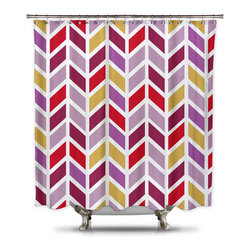 Shower Curtain HQ - Mauve Mist Chevron Fabric Shower Curtain, Extra Long - We designed this chevron shower curtain with popular Pantone colors mind. The colors in this bold pattern include: Radiant Orchard, Aurora Red, Misted Yellow, Sangria and Mauve Mist. The fabric is a thick quality polyester. The colors in this bold pattern include: Radiant Orchard, Aurora Red, Misted Yellow, Sangria and Mauve Mist. The fabric is a thick quality polyester.